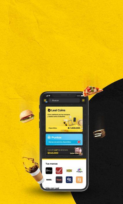 Banner con un celular con la aplicacion de leal abierta junto con varios elementos haciendo alusion a los varios comercios que tiene leal