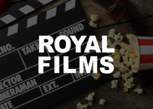 imagen de referencia de claqueta y comida de cine de fondo, con el logo del comercio Royal Films