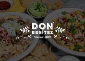 imagen de referencia de platos de comida de fondo, con el logo del comercio Don Benitez