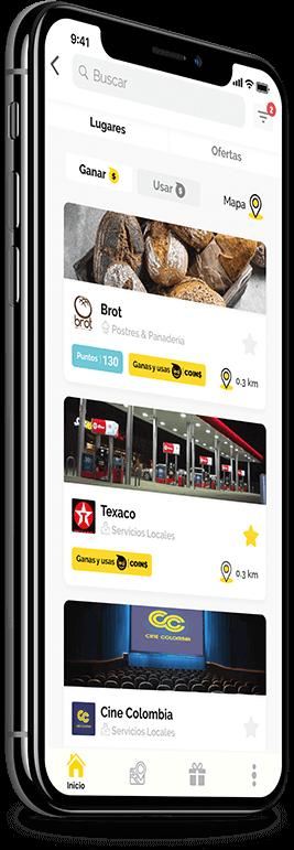 imagen de celular con la aplicacion de leal mostrando varios comercios
